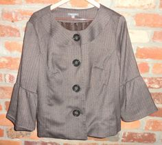 $24.95 OBO Women's Apt. 9 Brown Round Neck Bell Sleeve Large Button Blazer Jacket Size: 16W  Free Shipping