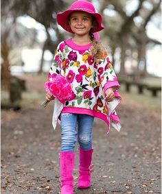 Boost her fall fashion with this Floral Poncho from Mia Belle Baby over 50% off!