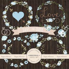 Premium Wedding Floral Clipart & Vectors  Soft Blue Wedding