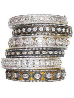 Gold Plating Over Silver Faux Rosecut Diamond Bangle by Jennifer Miller $450