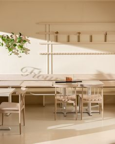 Inspired by bread and sunshine, Ste. Marie chose a material palette of pale golden tones for the interior of Flourist bakery & flour mill in East Vancouver. Bakery Interior, Interior Design Studio, Communal Table, Dining Table, Timber Table, Small Sink, Flour Mill, Built In Seating, Built In Shelves