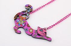 Collier femme chat sautoir pendentif + collier ( 6 couleurs au choix )