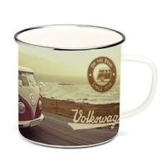 Enamel Coffee Mug-Beach Life. Brand New retro style VW Enamel Mugs with colorful VW designs  Each mug comes packaged in a nice individual VW gift box Height: 3.4 IN Holds 500ML Material: Enamel coated tin plated with stainless steel rim Officially Licensed by Volkswagen