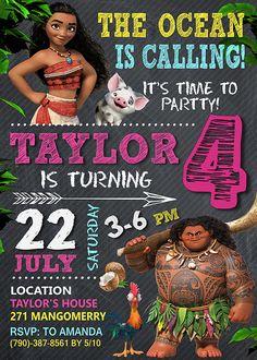 Moana Invitation Moana Invite Moana Birthday Moana Party
