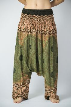 Geometric Mandalas Low Cut Women's Harem Pants in Olive