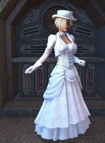 steam punk wedding dress!! Fantastic  Fairy godmothers -- Call (310) 882-5039 if you are looking for beach wedding ministers. https://OfficiantGuy.com