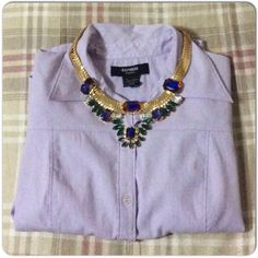 Express Button Down ⚡️Express mid to three-quarter sleeve button down in a light purple/lavender. Small belt loops at the side for option to wear as is or with your favorite skinny belt! Preloved condition. Necklace and belt not included. Please ask all questions and for additional pics prior to purchase. Express Tops Button Down Shirts