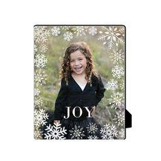 Bokeh Snowflakes Desktop Plaque, Rectangle, 8 x 10 inches, White