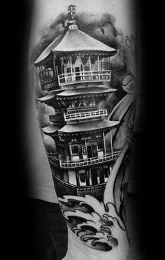 60 Pagoda Tattoo Designs For Men - Tiered Tower Ink Ideas Foo Dog Tattoo, Dog Tattoos, Body Art Tattoos, Henna Tattoos, Tengu Tattoo, Tattoo Samurai, Cool Half Sleeve Tattoos, Japanese Sleeve Tattoos, Tattoo Sleeve Designs