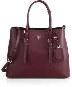 Love this: Prada Saffiano Cuir Medium Double Bag @Lyst