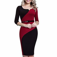 Samtree Women's 3/4 Sleeves Colorblock Patchwork Bodycon Wear to Work Office Cocktail Party Pencil Dress