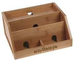 Bamboo Charging Station and Organizer contemporary storage and organization