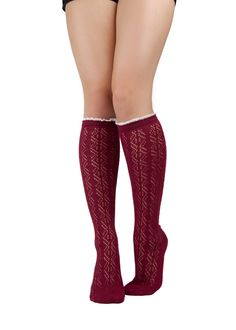 Wine Lace Boot Socks