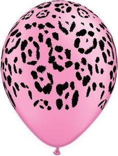 Neon Safari Pink Leopard Latex Balloons