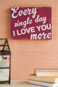 """""""Every Single Day I Love You More."""" This distressed wooden sign with a loving saying says it all! Give someone the perfect gift to adorn their wall or shelf.<br />%0D%0A<br />%0D%0A- 14"""" x 11""""<br />%0D%0A- Distressing may vary by piece<br />%0D%0A- Imported<br />%0D%0A<br />%0D%0A"""