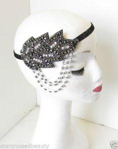 Silver-strass-noir-bandeau-perles-feuilles-bandeau-vintage-annees-20-tambour-30s-O54