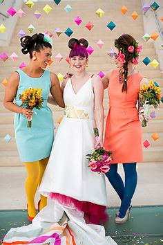 Love the background origami string decor with one portion in glitter - 21 Bright and Bold Neon Wedding Decor Ideas via Brit + Co