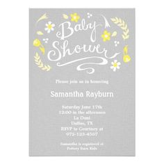 Yellow and Gray Floral Baby Shower Invitation