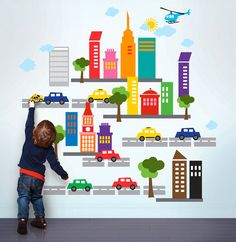 City wall decal (via At Home with Kim Vallee)