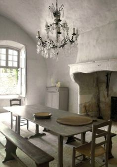 lovely.  The lines of the fireplace are very sensual.  The plaster patina is fabulous.