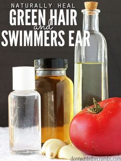 Have you ever had green hair from swimming in the pool? Or an awful earache from all the water? Get rid of green hair and heal swimmer's ear naturally with these simple home remedies that work! :: DontWastetheCrumbs.com