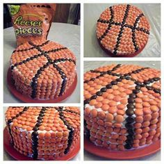 Basketball cake decorated with Reeses. Imagine the possibilities if you use M and Ms or skittles!