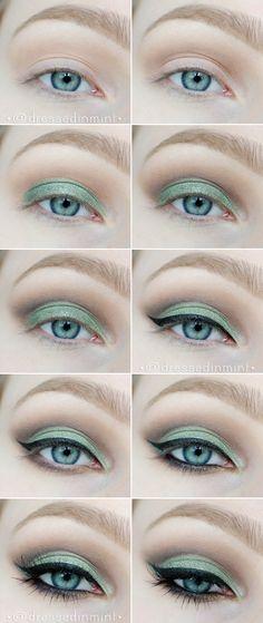 make up. - GREEN cut crease / step by step