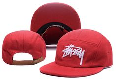 Men's Stussy Stock 3D Iconic Logo Embroidery 5 Panel Flannel Strapback Hat - Red / White