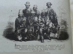 Charrúas. Población originaria de parte del territorio de la Rep. O. del Uruguay. Dibujo del grupo de indígenas llevados a Francia en 1838.