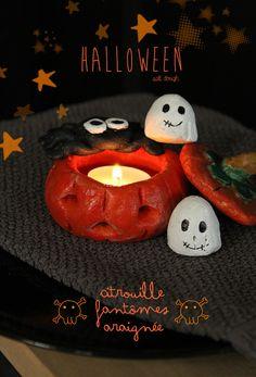 Pumpkin, ghost and spider salt dough - Citrouille, fantôme et araignée en pâte à sel.