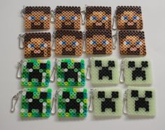 Minecraft  inspired 16 pcs handmade perler beads party favor keychains by PixelParty14