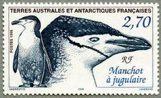 Tierras Australes y Antártida Francesa 1999-El Pingüino Barbijo es una especie de pingüino que se encuentra en las Islas Sandwich del Sur, Antártida, las islas Orcadas del Sur, Shetland del Sur, Georgias del Sur, Isla Bouvet, Islas Balleny e Isla Pedro