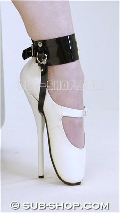 """8785A Black Luxe PVC Buckling Ankle/Shoe Cuffs This is simply a lovely pair of black Luxe PVC buckling shoe cuffs to keep those lovely shoes or boots on your slave's feet! The 2"""" ankle cuff buckles tightly and the 1/2"""" strap goes under the shoe in front of the heel. http://www.sub-shop.com/collections/shoe-and-foot-bondage/products/8784a-black-pvc-buckling-ankle-shoe-cuffs"""