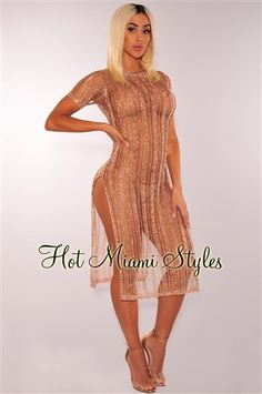 986589f2840 Rose Gold Metallic Knit Short Sleeves Slit Cover Up Dress