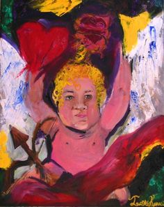 A romantic and yet powerful painting by Ioanna Kiriakou, Cupid turned to love. Because after passion comes love...
