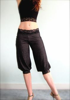 """""""scrollwork tango pants"""" These kind of pants that taper at the knee are actually very good on me. Too old to show the belly, but it's been a nice look for me in the past."""