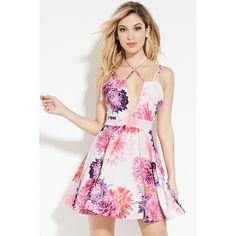 Forever 21 Women's  Tiger Mist Floral Fit & Flare Dress ($98) ❤ liked on Polyvore featuring dresses, v neck cami, forever 21 dresses, mini dress, pink cami and pink camisole
