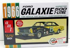 This 1966 For Galaxie car model kit is made by AMT in 1/25 scale. New kit in a sealed box. Retro Deluxe Edition from AMT model kits. Includes multiple engine builds Three exhaust systems Expanded deca