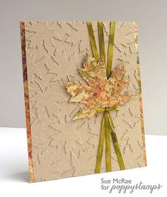 handmade card from Sue McRae: Gilded Autumn . faux embossed look . lots of die cut maple leaves in tone on tone colores . lithe the tripple ribbon wrap pulled together under the leaf . Halloween Cards, Fall Halloween, Fall Cards, Christmas Cards, Holiday Cards, Leaf Cards, Thanksgiving Cards, Autumn Leaves, Maple Leaves