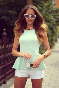 mint peplum top with white short shorts