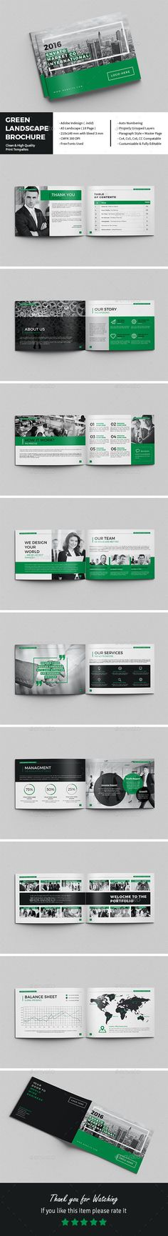 Green Landscape Brochure Template InDesign INDD. Download here: https://graphicriver.net/item/green-landscape-brochure/17205438?ref=ksioks