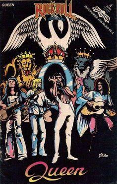 Freddie Mercury. Brian May. Roger Taylor. John Deacon. Queen. 1970s.