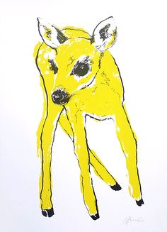 Yellow Fawn hand pulled screen print available from Printclub London www.printclublondon.com/shop/yellow-fawn/