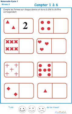 Exercise 3 to count shapes on dominoes Kindergarten GS – Anita Bobbie Mega Math, Maternelle Grande Section, Math Exercises, Sequencing Cards, French Language Lessons, French Education, Preschool Learning Activities, Teaching French, Math For Kids