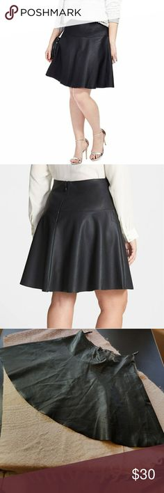City Chic Faux Leather Dancer Skirt This skirt sold out everywhere pretty fast, and there's a reason why! It's vegan leather, great fitting, and fabulous quality. The construction is impeccable and there are no flaws in this one. Hem is intentionally left raw because it looks cool and it would bunch up or lay weird if it was hemmed. TAG SAYS SMALL, but City Chic Small is a normal 16-18, so I've listed it as such so you can find it! Check it out with the leopard print Chico's tank from my…