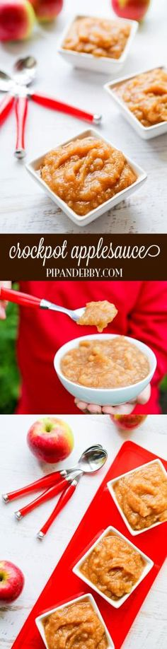 Crockpot Applesauce - this is so super easy and yummy! Make it as chunky or smooth as you would like. My boys devoured this stuff, which endorses it as being kid-friendly! Crock Pot Desserts, Crock Pot Cooking, Delicious Desserts, Yummy Food, Fun Food, Tasty, Fruit Recipes, Apple Recipes, Fall Recipes