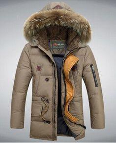 Men's White Down Jacket Fur Collar Winter Thick Coat