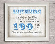 100 Years Old Birthday Gift For Grandpa By Moonlightgraphics 1600 100th Card