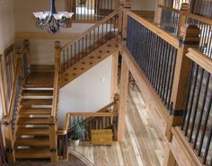Staircases, Douglas Fir, Rustic, Wrought Iron Spindles