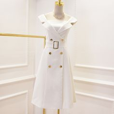 ==> [Free Shipping] Buy Best New Fashion Runway 2017 Designer Dress Women's Notched Collar Off The Shoulder Double Breasted Buttons Belt Dress Online with LOWEST Price | 32816377859